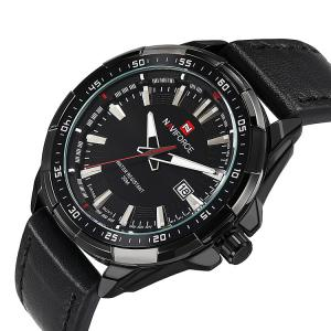 NAVIFORCE 9056 Faux Leather Strap Luminous Date Watch - BLACK LEATHER BAND+BLACK DIAL