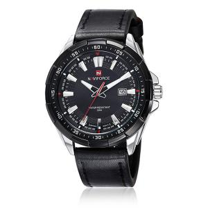 NAVIFORCE 9056 Faux Leather Strap Luminous Date Watch - Black Leather Band+white Dial