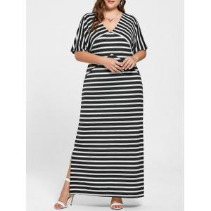 Pus Size Slit Striped Maxi Dress - Black Stripe - 3xl