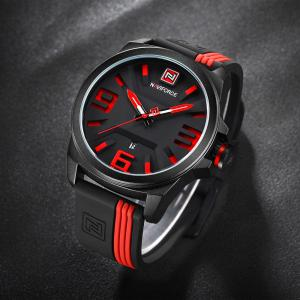 NAVIFORCE 9098 Silicone Strap Luminous Date Quartz Watch - RED