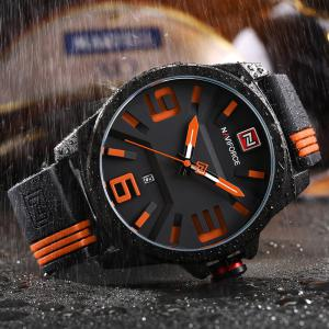 NAVIFORCE 9098 Silicone Strap Luminous Date Quartz Watch - Orange