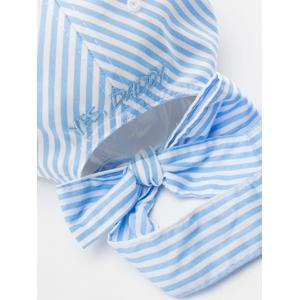 Bowknot Long Tail Stripe Baseball Hat - PINKISH BLUE