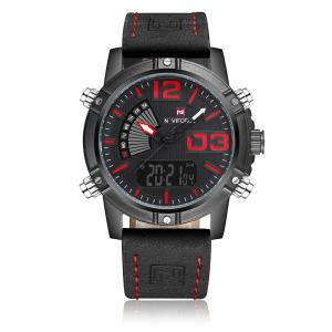 NAVIFORCE 9095 Faux Leather Strap Luminous Analog Digital Watch - Black