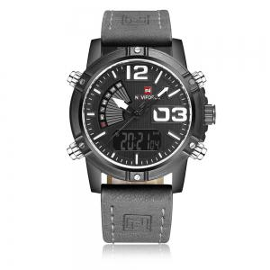 NAVIFORCE 9095 Faux Leather Strap Luminous Analog Digital Watch - Gray
