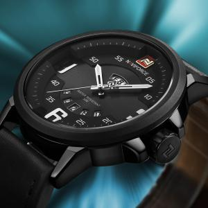 NAVIFORCE 9086 Faux Leather Band Luminous Date Watch - BLACK