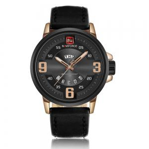 NAVIFORCE 9086 Faux Leather Band Luminous Date Watch - Black And Rose Gold - S