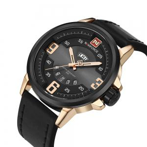 NAVIFORCE 9086 Faux Leather Band Luminous Date Watch - Noir et Rose OR