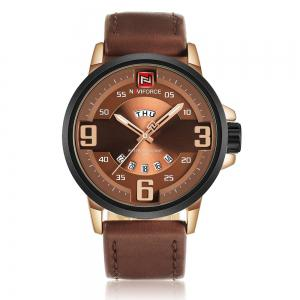 NAVIFORCE 9086 Faux Leather Band Luminous Date Watch