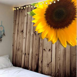 Home Decor Sunflower Pattern Wall Hanging Tapestry - Wood - W79 Inch * L59 Inch