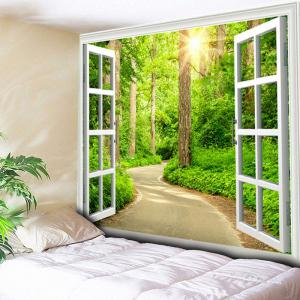 Window Forest Path Printed Wall Tapestry