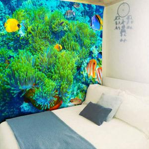 Sea World Print Wall Hanging Bedroom Tapestry - Vert Largeur 59pouces*Longeur 51pouces