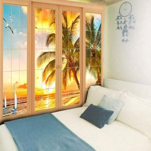 Wall Art Window Tirage d'impression de cocotiers -