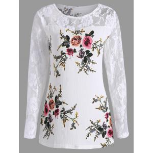 Lace Panel Floral Print Plus Size Top - White - 5xl