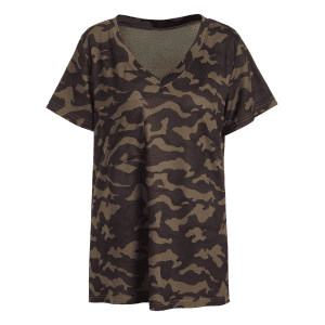 Fashion V-Neck Short Sleeve Camo Print Women's T-Shirt - CAMOUFLAGE XL