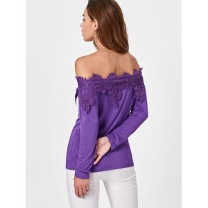 Lace Insert Off The Shoulder T-shirt -