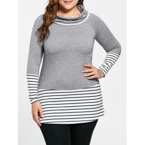 Plus Size Striped Cowl Neck Top