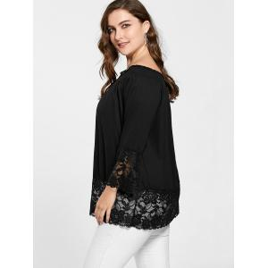 Lace Trim Off The Shoulder Plus Size Top - Noir 2XL