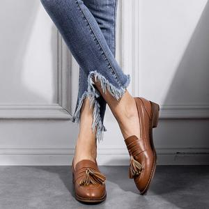 Tassels Faux Leather Flat Shoes - Brun 38