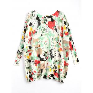 Plus Size Splash Painting Knitted Tunic Sweater -