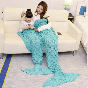 Fish Scale Knitted Parent-child Mermaid Blanket - GREEN 180*145CM