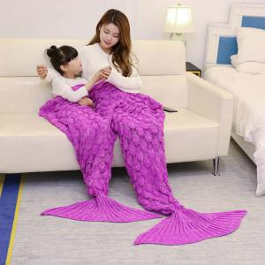 Fish Scale Knitted Parent-child Mermaid Blanket - Rose Madder - 180*145cm
