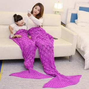 Fish Scale Knitted Parent-child Mermaid Blanket - ROSE MADDER 180*145CM