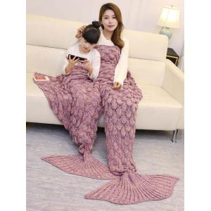 Fish Scale Knitted Parent-child Mermaid Blanket - Pink - 180*145cm