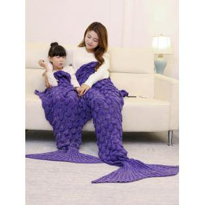 Fish Scale Knitted Parent-child Mermaid Blanket - PURPLE 180*145CM