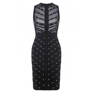 Mock Neck Beaded Mesh Bandage Cage Dress