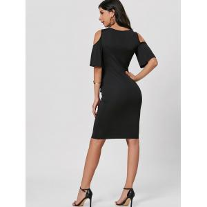 Cold Shoulder Peplum Bodycon Dress - BLACK 2XL