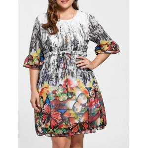 Drawstring Knee Length Butterfly Print Plus Size Dress