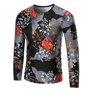 Color Block Rose Print Long Sleeve T-shirt - Colormix - 3xl