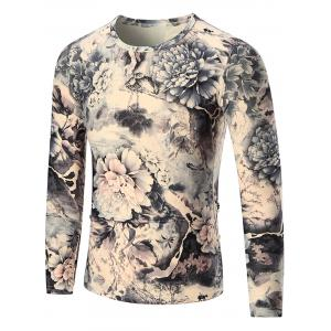 Peony Print Long Sleeve T-shirt - Colormix - 3xl