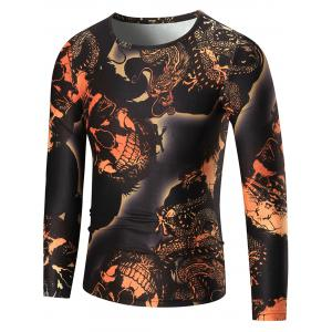 Allover Skulls Print Long Sleeve T-shirt