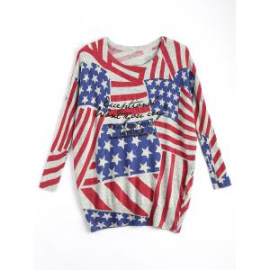American Flag Knit Patriotic Plus Size Sweater - Red - One Size