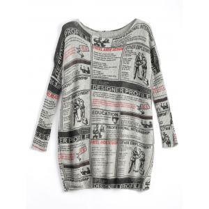 Plus Size Newspaper Printed Vintage Long Sweater - Light Gray - One Size