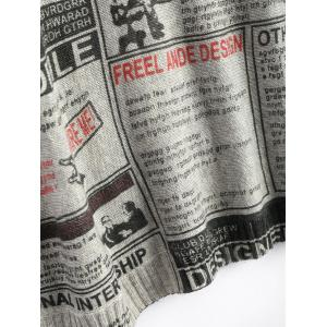 Plus Size Newspaper Printed Vintage Long Sweater - LIGHT GRAY ONE SIZE