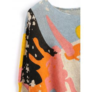 Funny Graphic Plus Size Long Sweater - APRICOT ONE SIZE