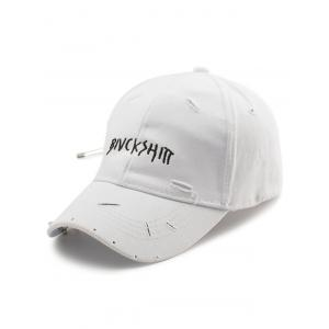 Safety Pin Circle Letters Broken Hole Baseball Hat - White