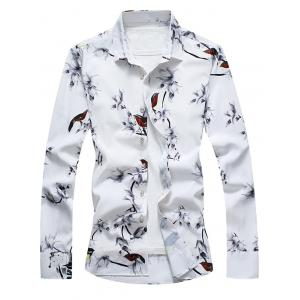 Retro Bird and Flower Print Shirt