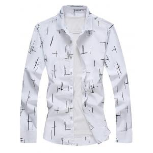 Long Sleeve Turndown Collar Print Shirt