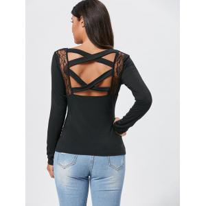 Lace Insert Long Sleeve Cross Back Tee - BLACK S
