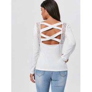 Lace Insert Long Sleeve Cross Back Tee - WHITE S