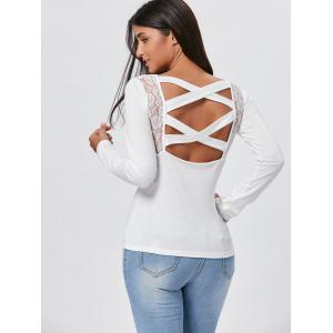 Lace Insert Long Sleeve Cross Back Tee - WHITE L