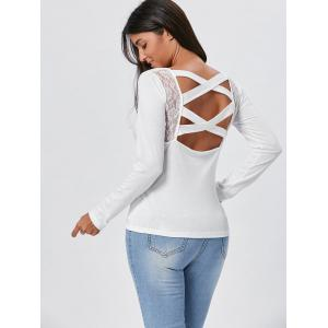 Lace Insert Long Sleeve Cross Back Tee - WHITE XL