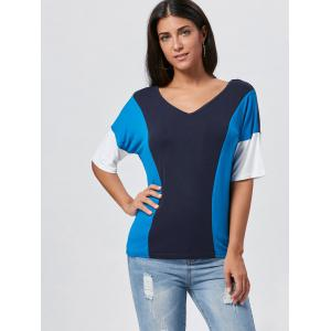 V Neck Color Block Tunic T-shirt - BLUE M