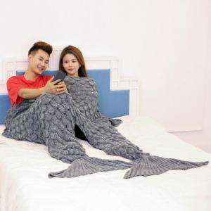 Crochet Fish Scale Pattern Mermaid Blanket For Lovers -