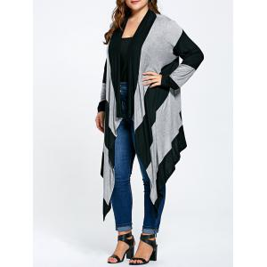 Long Plus Size Asymmetric Striped Cardigan - Black And Gray - Xl