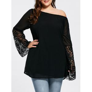 Bell Sleeve Plus Size Lace Insert Tunic Top - Black - 5xl