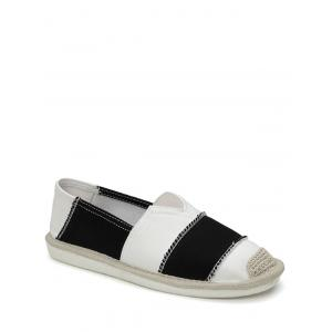 Striped Elastic Band Canvas Flat Shoes - Black - 40